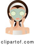 Vector of Beautiful Brunette White Lady with Green Eyes, Facing Front, Applying a Mask and Holding Cucumbers over Her Eyes by Melisende Vector