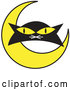 Vector of Black Cat's Face with a Yellow Crescent Moon by Andy Nortnik