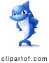 Vector of Blue Cartoon Shark Mascot Grinning with Hands on His Hips by Graphics RF