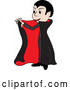 Vector of Boy in a Count Dracula Costume, Holding Open His Cape by Pams Clipart