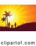 Vector of Bright Orange Sunset Burst Silhouetting a Family Walking and Holding Hands near Palm Trees on a Grassy Hill by KJ Pargeter