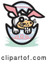 Vector of Buck Toothed Dog Wearing Bunny Ears in an Easter Egg by Andy Nortnik