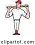 Vector of Cartoon Baseball Player Standing and Holding a Bat over His Shoulders by Patrimonio