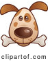 Vector of Cartoon Brown Puppy Dog Face with a Bone in His Mouth by John Schwegel