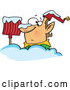 Vector of Cartoon Christmas Elf Buried in Deep Snow with a Shovel by Toonaday