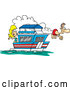 Vector of Cartoon Couple on Their House Boat by Toonaday