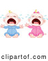 Vector of Cartoon Crying Blond White Babies by Pushkin