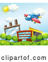 Vector of Cartoon Cute Airplane over a Factory 2 by Graphics RF