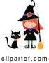 Vector of Cartoon Cute Halloween Witch with a Broom and Black Cat by Peachidesigns