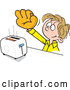 Vector of Cartoon Dirty Blond White Boy Wearing a Baseball Glove to Catch Toast from a Toaster by Johnny Sajem