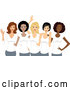 Vector of Cartoon Diverse Ladies Wearing White T Shirts on International Womens Day by BNP Design Studio