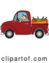 Vector of Cartoon Farmer Driving a Truck with Pumpkins in the Bed by Djart