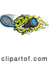 Vector of Cartoon Flaming Tennis Ball Mascot Biting a Racket by Chromaco