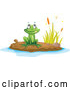Vector of Cartoon Frog on a Pond Island 1 by Graphics RF