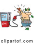 Vector of Cartoon Gas Pump Holding up a Customer by Toonaday