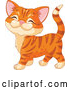 Vector of Cartoon Ginger Kitten Walking and Smiling by Pushkin