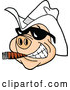 Vector of Cartoon Grinning Pig Wearing Sunglasses and a White Cowboy Hat, Smoking a Cigar by LaffToon