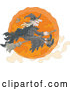 Vector of Cartoon Halloween Witch Flying on a Broomstick over an Orange Full Moon by Alex Bannykh