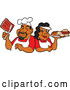 Vector of Cartoon Happy Black Chef Couple Holding Ribs and a Plate of Bbq Foods by LaffToon