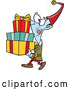 Vector of Cartoon Happy Christmas Elf Carrying a Stack of Presents by Toonaday