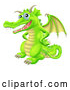 Vector of Cartoon Happy Green Dragon with His Hands on His Hips by AtStockIllustration