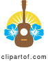 Vector of Cartoon Hawaiian Ukulele with Blue Hibiscus Flowers and Sunshine by Maria Bell