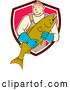 Vector of Cartoon Male Fishmonger Holding a Catch and Emerging from a Maroon White and Pink Shield by Patrimonio