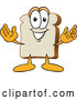 Vector of Cartoon Slice of White Bread Food Mascot Character with His Arms Open by Toons4Biz