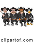 Vector of Cartoon Tough Cow Rooster and Pig Lawmen Walking Forward with Bbq Tools by LaffToon