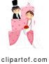 Vector of Cartoon Wedding Couple Sitting on a Giant Pink Cake by BNP Design Studio