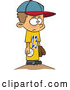 Vector of Cartoon White Boy Wearing a Big Jersey and Standing on Baseball Pitchers Mound by Toonaday