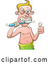 Vector of Cartoon White Guy Giving a Thumb up and Brushing His Teeth While Wearing a Towel by Zooco