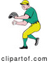 Vector of Cartoon White Male Baseball Player Pitching in a Green and Yellow Uniform by Patrimonio