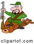 Vector of Cartoon White Male Hunter Sitting on a Bear with a Boot on the Neck by LaffToon