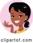 Vector of Cartoon Young Black Lady Avatar Smiling and Gesturing by Monica