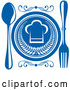 Vector of Chef Hat Plate and Silverware - Blue and White Theme by Vector Tradition SM