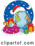 Vector of Christmas Desk Globe with Santa Hat, Bag and Gifts by Alex Bannykh