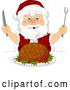 Vector of Christmas Santa Claus Ready to Carve a Ham by BNP Design Studio