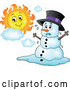 Vector of Christmas Snowman Melting Under the Shining Sun by Visekart