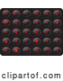 Vector of Collection of Red Misc Button Icons on a Black Background by Rasmussen Images