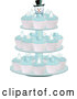 Vector of Cupcakes with Blue Icing on a Snowman Stand Display by Elaineitalia