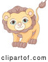 Vector of Cute Adorable Male Lion with Green Eyes by Pushkin