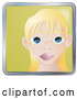 Vector of Cute Blond Girl with Big Blue Eyes and Freckles by AtStockIllustration