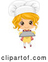 Vector of Cute Blond Toddler Chef Girl Holding a Baking Sheet by BNP Design Studio