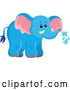 Vector of Cute Wild African Blue Elephant Spraying Water by Visekart