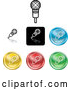 Vector of Different Colored Microphone Icon Buttons by AtStockIllustration