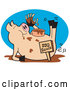 Vector of Fat, Hugry Pig Chowing down on Ribs and Bbq Sauce by Andy Nortnik