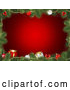 Vector of Fir Tree Christmas Frame with Presents and Baubles over Red by KJ Pargeter