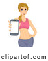 Vector of Fit Blond White Lady Holding out a Phone As if Showing a Fitness App by BNP Design Studio