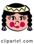 Vector of Friendly Native American Indian Girl's Face with Braids, Flushed Cheeks and a Headband by Andy Nortnik